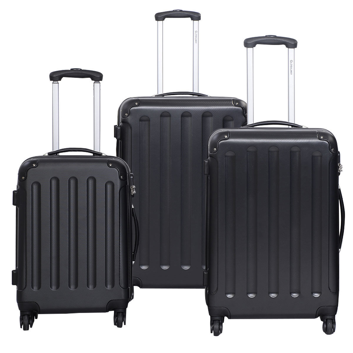 "GHP 3-Pcs Black 20"" 24"" 28"" Hard Shell Polyester Lining Trolley Suitcase Travel Bags"