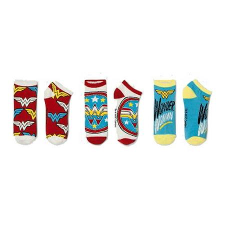 HYP Comics DC Wonder Woman Ankle Socks 3-Pack Shoe Size