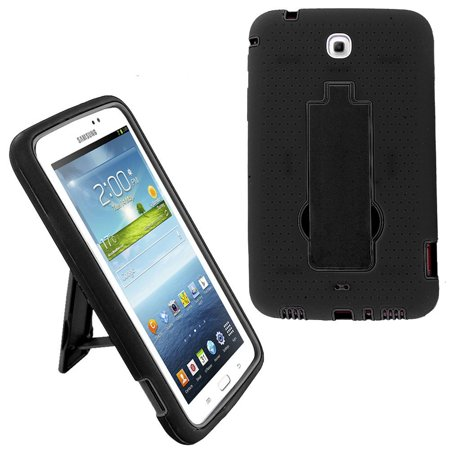 Shockproof Hybrid Case Cover by KIQ For Samsung Galaxy Tab 3 7.0 P3200 (Black/Black) ()