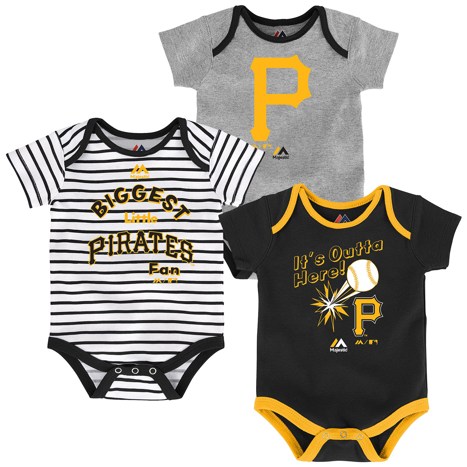 Pittsburgh Pirates Majestic Newborn & Infant Home Run 3-Pack Bodysuit Set - Black/Gray/White