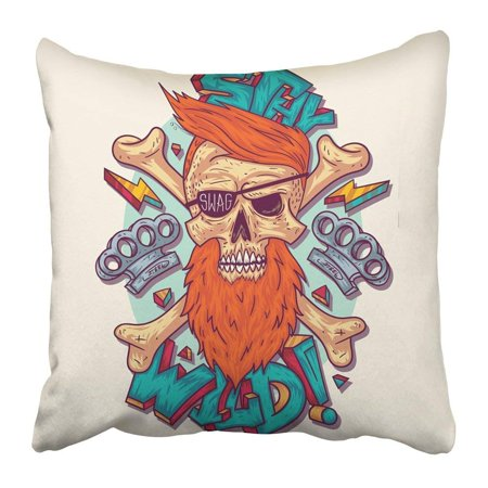 BPBOP Freak Skull in Swag Style for Crazy and Crossbones to Be Printed on Cartoon Graffiti Beard Hop Rap Pillowcase 18x18 inch
