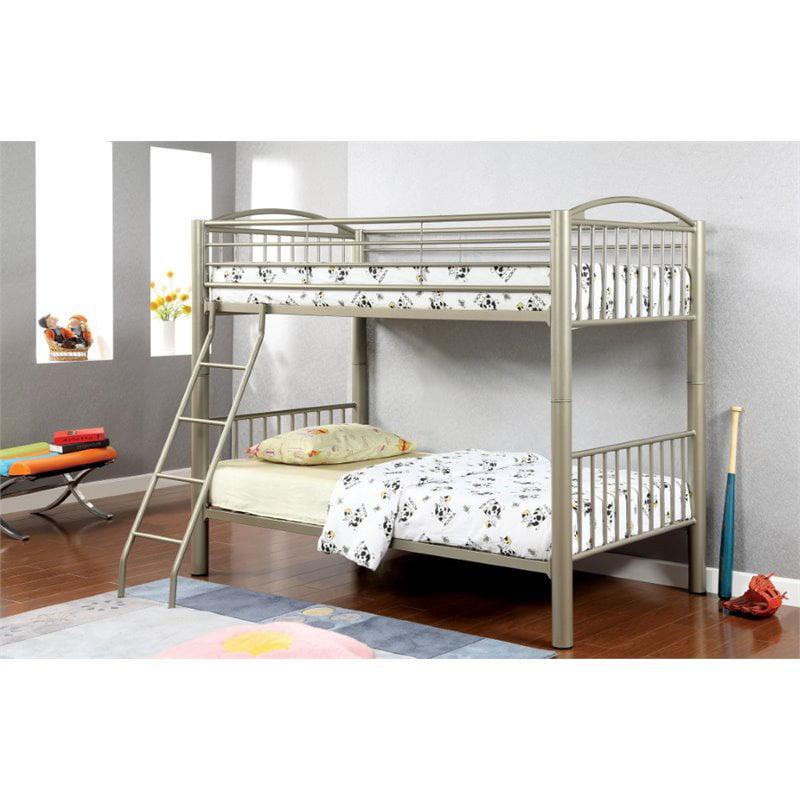 Furniture of America Lohani Twin over Twin Metal Bunk Bed in Gold
