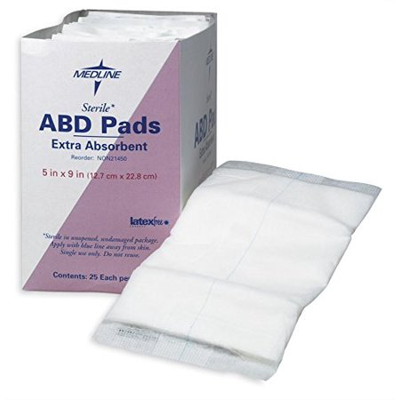 NON21450H Sterile Abdominal Pads (Pack of 25), Medline's super absorbent abdominal pads feature a soft non-woven outer layer that quickly wicks fluid to.., By Medline