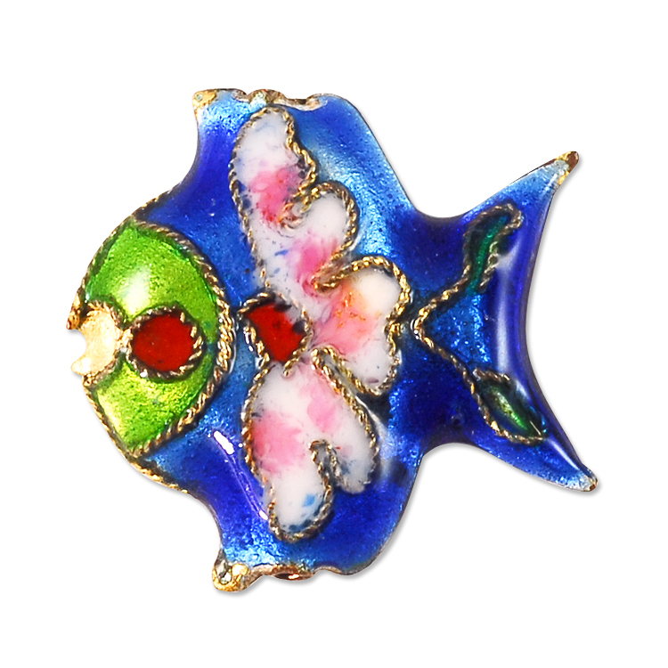 Cloisonne Fish Bead 23x18mm Blue (Package of 1 Bead)