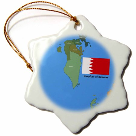 3dRose The flag and map of the Persian gulf country, Kingdom of Bahrain with all governing regions marked. , Snowflake Ornament, Porcelain, 3-inch