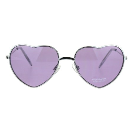 - Hippie Pimp Color Lens Metal Rim Valentine Heart Shape Sunglasses Purple