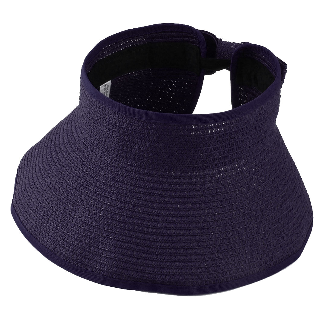 Outdoor Activities Straw Braided Bowknot Design Roll Up Sun Visor Hat Purple