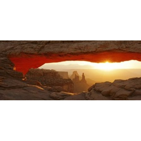 Mesa Arch at sunset Canyonlands National Park Utah USA Canvas Art - Panoramic Images (15 x 6)