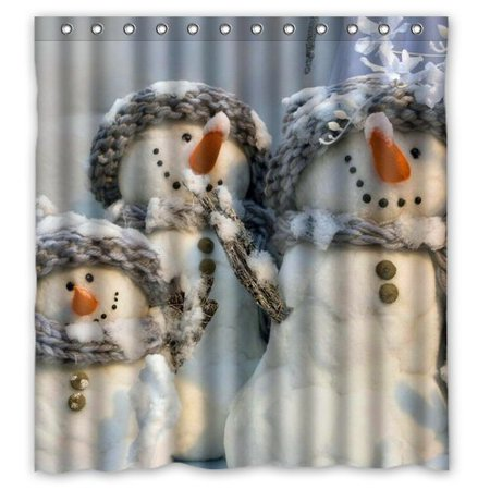 GreenDecor Christmas Snowman Gift Tree Santa Waterproof Shower Curtain Set with Hooks Bathroom Accessories Size 66x72 inches](Snowman Bathroom Sets)