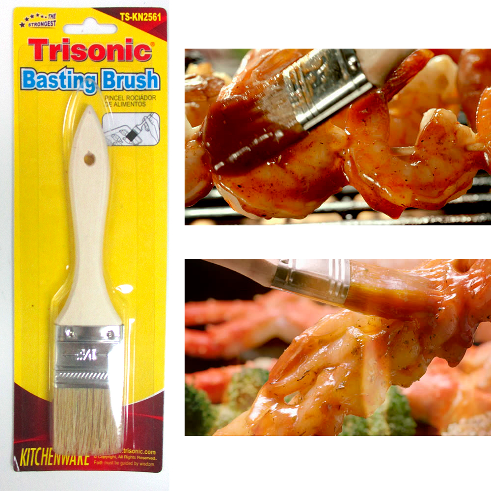 "1 Pc Basting Brush 7"" Kitchen Cooking Pastry Baking BBQ Sauce Butter Wood Handle by TRISONIC"