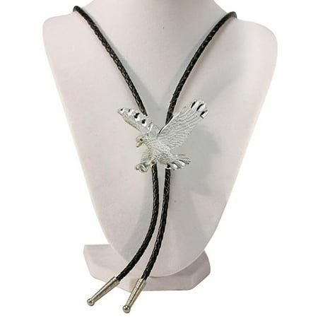 Beaded Silver Bolo Tie (Silver Tone Eagle Western Bolo Tie)
