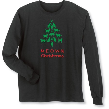 f6a0fb76d What on Earth - Unisex Adult Meowy Christmas Cat Tree Black Long Sleeve T- Shirt - Walmart.com