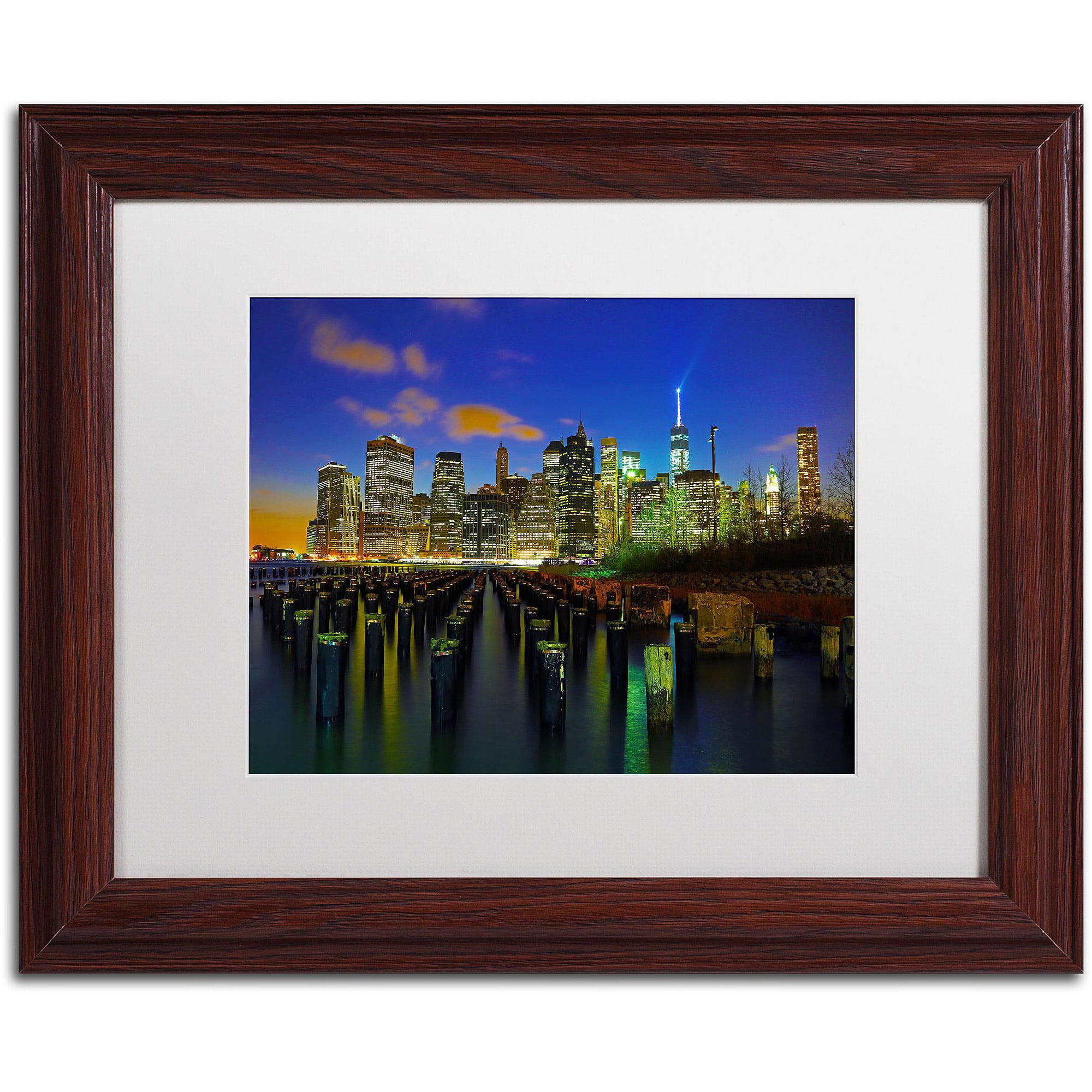"Trademark Fine Art ""City Lights 1"" Canvas Art by CATeyes, White Matte, Wood Frame"