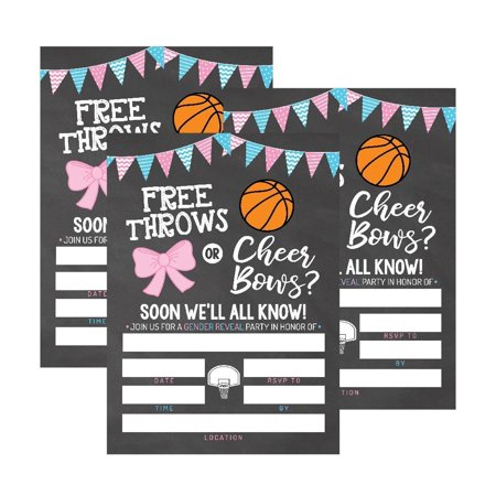 25 Basketball Gender Reveal Baby Shower Party Invitation Cards, Free Throws or Cheer Bows For Gender Neutral Unisex Invites Guess If It's a Boy or Girl Sprinkle Fill In The Blank Printable Invite Pack (Baby Sprinkle Invitations For A Boy)