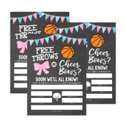 25 basketball gender reveal baby shower party invitation cards free throws or cheer bows for