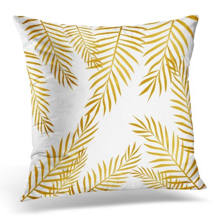 CMFUN White Abstract Leaves Branch Floral Flower Gold Good Pillow Case Pillow Cover 20x20 inch