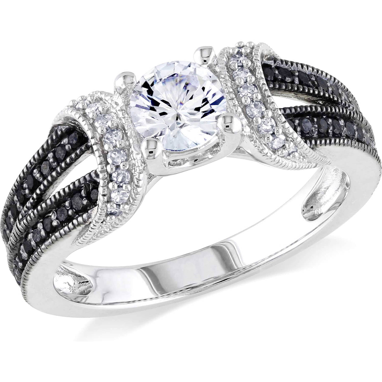 wedding halo diamond and hexagon ct engagement products set prong ring white black rings gold