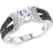 5/8 Carat T.G.W. Created White Sapphire and 1/4 Carat T.W. Black and White Diamond Sterling Silver Engagement Ring