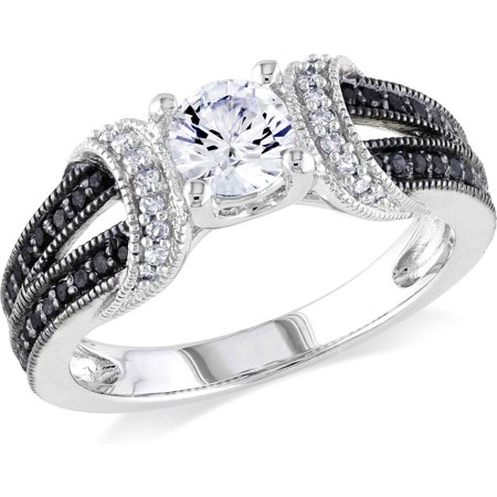 5 8 Carat T G W  Created White Sapphire And 1 4 Carat T W  Black And White Diamond Sterling Silver Engagement Ring