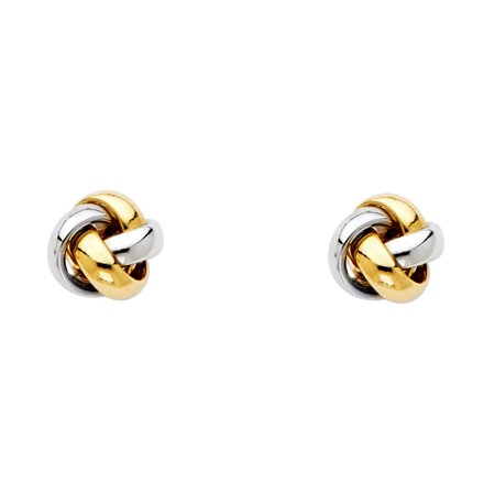 Love Knot Stud Earrings Solid 14k Yellow White Gold Twisted Studs Fancy Design Two Tone 8 x 8 mm