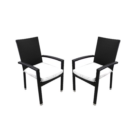 Northlight 2pc Wicker Outdoor Patio Furniture Dining Chairs with Cushions - Black/White ()