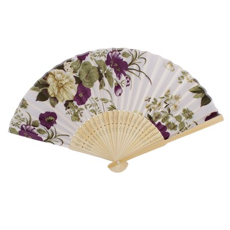 Folding Hand Fan - Wedding Festival Room Decor Bamboo Frame Colorful Peony Pattern Hand Folding Fan