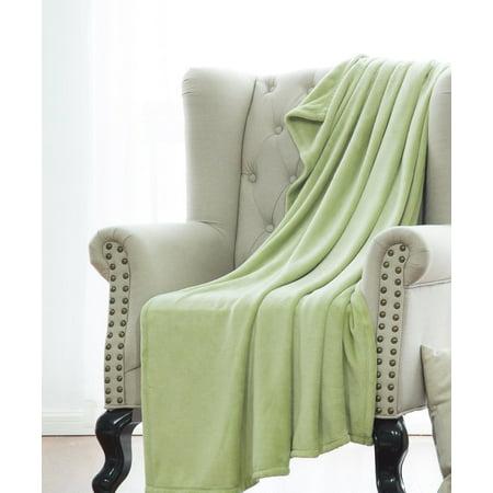 - ULTRA SOFT THROW SAGE, Microlight Plush Solid Fleece Small Throw Blanket 50