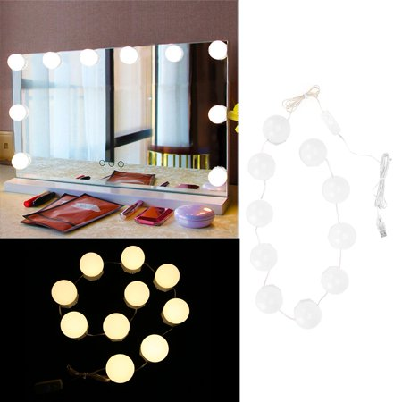 Qiilu Light String, Mirror Lights,10 Bulbs Vanity LED Makeup Mirror Lights Dimmable Bulb Adjustable Warm Cold Tones Light String - image 8 of 8