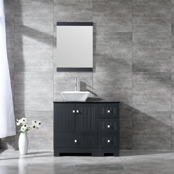 Wonline Sliverylake 36 Inches W Bathroom Vanity Ceramic Vessel Sink Combo Pvc Cover Cabinet Countertop Sink Bowl W Mirror Set Black Trapeziform Walmart Com Walmart Com