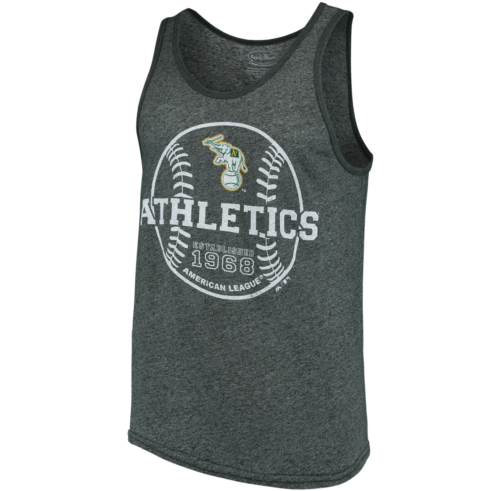 Oakland Athletics Majestic Threads The Stretch Contrast Tri-Blend Tank Top - Heathered Green
