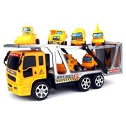 Construction Tow Trailer Children's Kid's Friction Toy Truck Ready To Run w/ 6 Mini Toy Construction Trucks, No Batteries Required