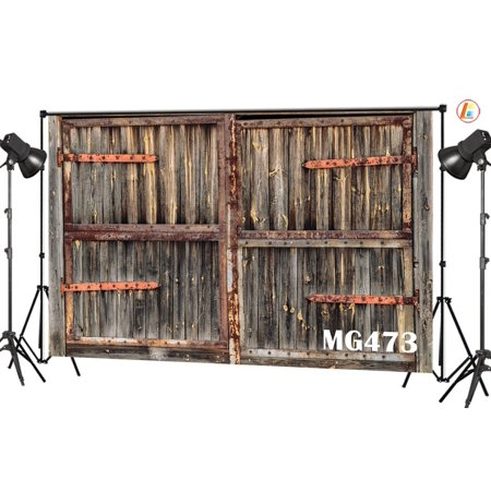 GreenDecor Polyster 7x5ft Rustic Barn Door Photography Backdrops Studio Background Vintage Farmhouse Photo Backdrop Props