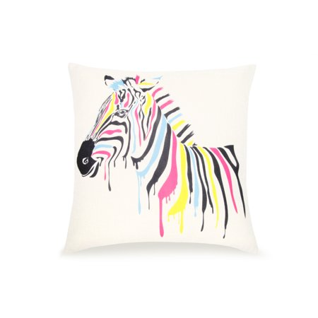 Pal Fabric Blended Linen Animals Square Water Paining Zebra 18x18 Pillow (Cover Trans Zebra)