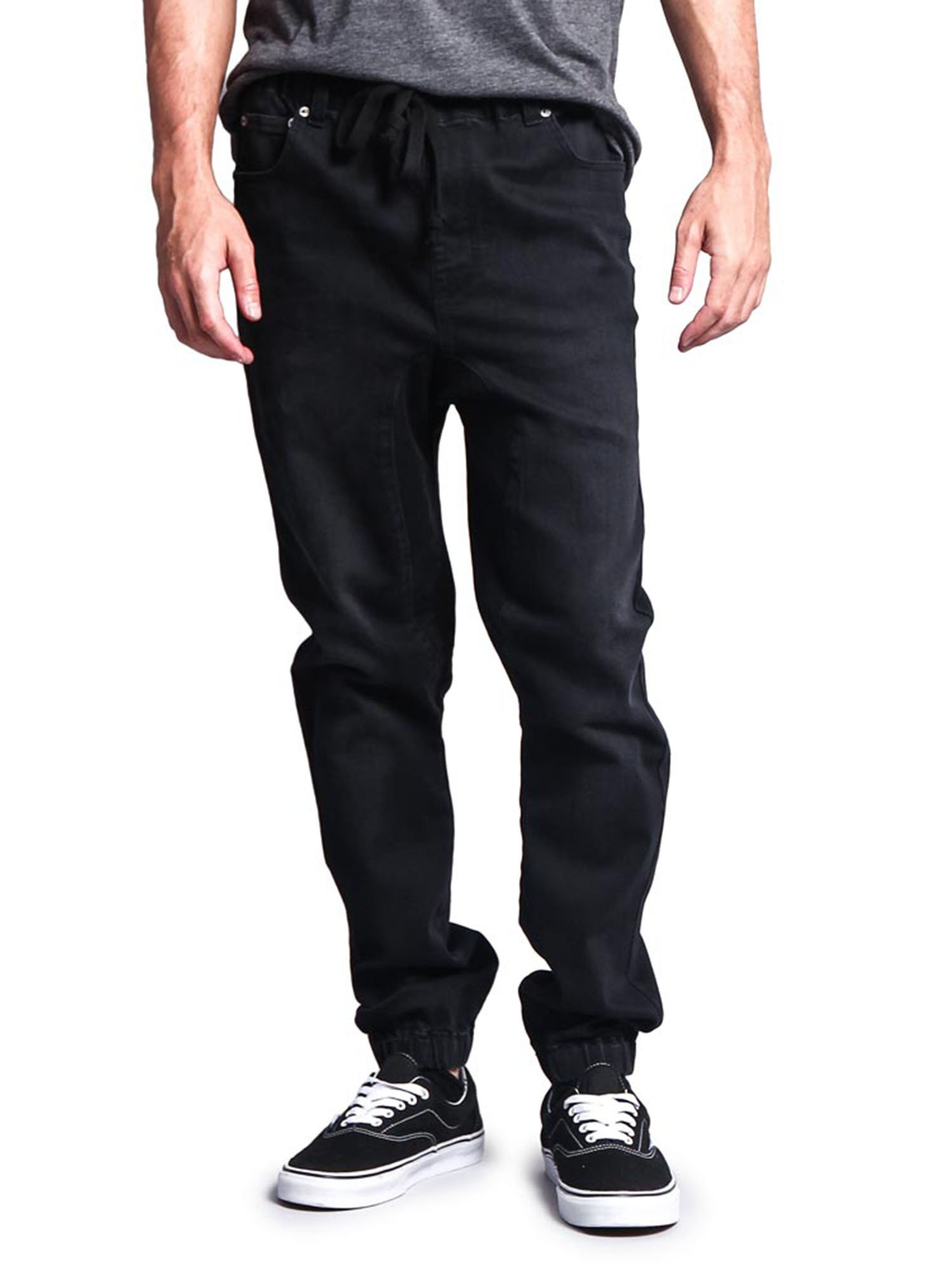Victorious Mens Drop Crotch Jogger Denim Pants JG803 - ACID BLACK - 2X-Large