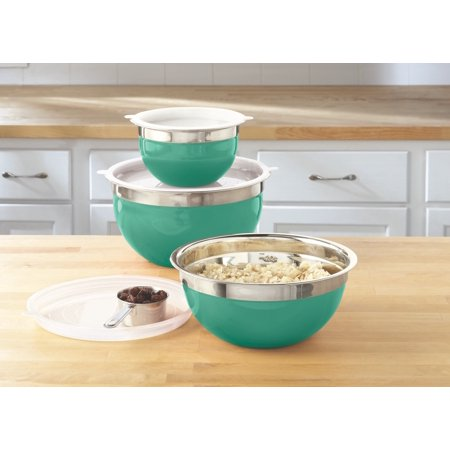 Mainstays Stainless Steel Mixing Bowl Set, 6 (Brushed Steel Stainless Steel Bowls)