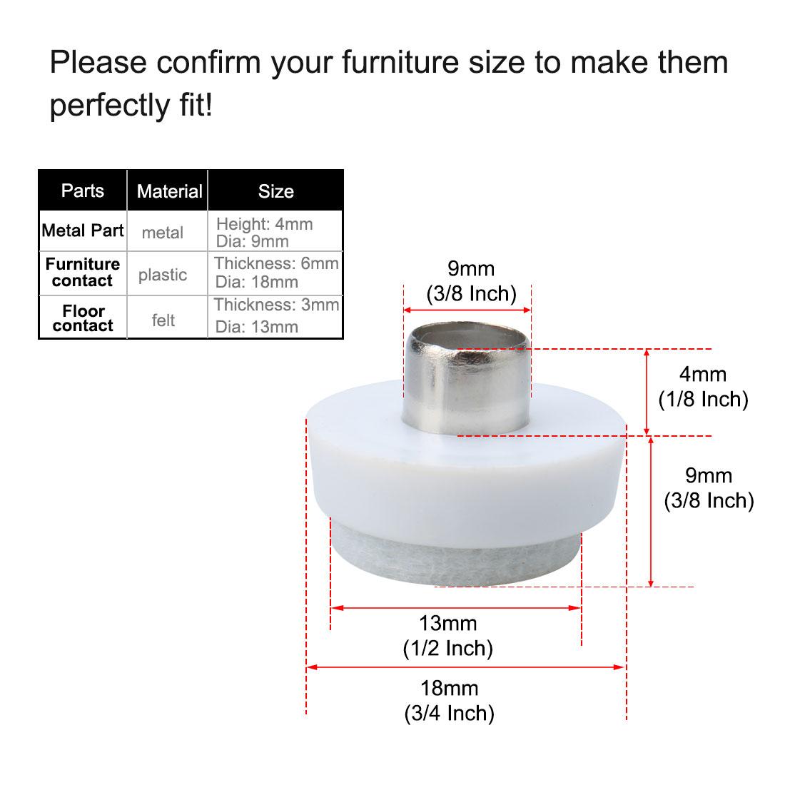 "18pcs Nail on Felt Pads for Furniture Chair Leg 3/4"" 18mm Dia Floor Protector - image 2 de 7"