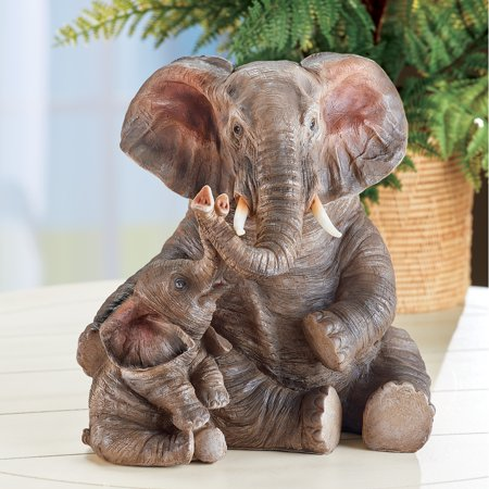 Collections Etc Mommy and Baby Elephant Hand-Painted Statue with Textured Details, Tabletop Decor for Any Room in Home ()