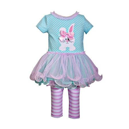 Toddler Baby Girls Aqua Bunny Tutu Top And Striped Leggings Set - Tutu Stores