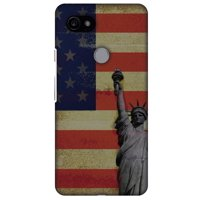 Google Pixel 2 XL Case, Premium Handcrafted Printed Designer Hard Snap on Shell Case Back Cover with Screen Cleaning Kit for Google Pixel 2 XL - Rustic Liberty US Flag