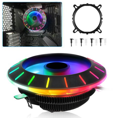 TSV LED CPU Cooler Air Cooling, 3 Pins 35CFM Aluminum RGB CPU Computer Cases Quiet Cooling Coolers & Radiators, Hydraulic Bearing Ring CPU Cooler W/ Mounting Screws, Holder & Instruction Manual Cpu Holder Accessory
