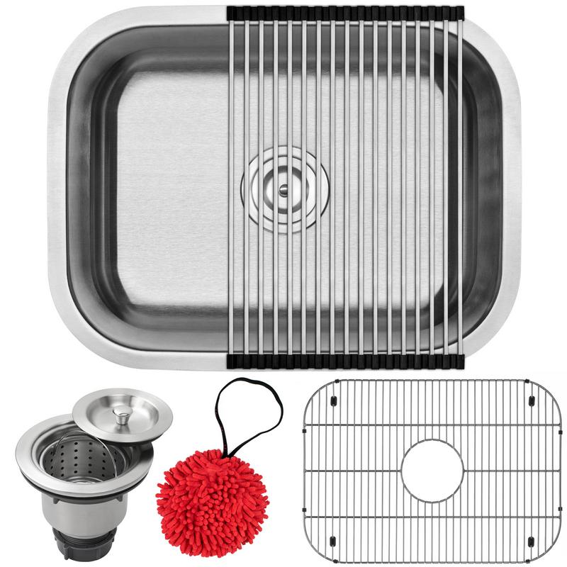 """23"""" Ticor S505 Haven Series 16-Gauge Stainless Steel Undermount Single Basin Kitchen Laundry Sink with Accessories by"""
