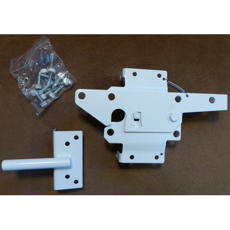 - Vinyl Gate Latch WHITE (for Vinyl, Wood, PVC etc Fencing) Fence Gate Latch w/Mounting Hardware -  Gate Latches have a 90 Degree Bracket Resulting in a Positive Latch to Gate Connection