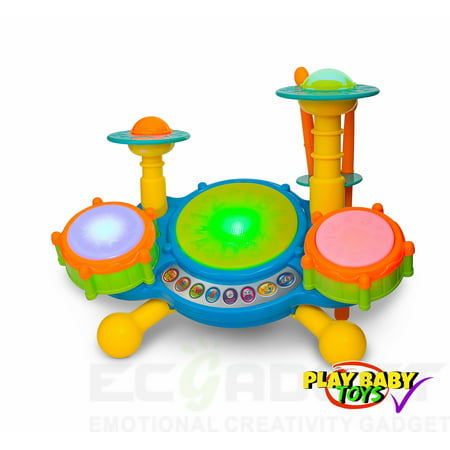 Play Baby Toys Big Beats Pre-School Jazz Drum Set With Preloaded Songs And Music With Educational Activities Like Counting And Developing A Sense Of Music -