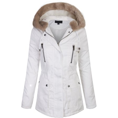 KOGMO Junior Womens Zip Up Utility Jacket Coat with Faux Fur Lining and Hoodie