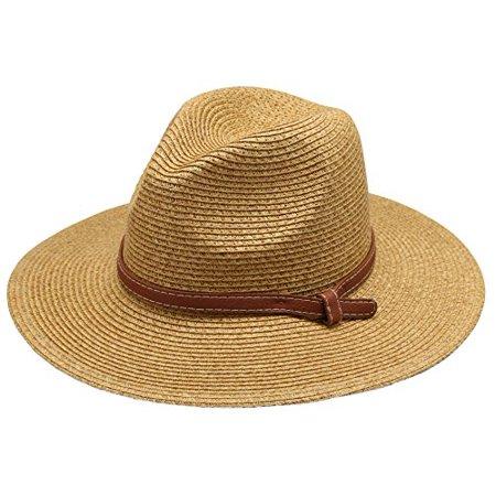 Women's Braid Straw Wide Brim Classic Fedora Sun Hat UPF 50+ with Adjustable Drawstring (F2250, Brown)