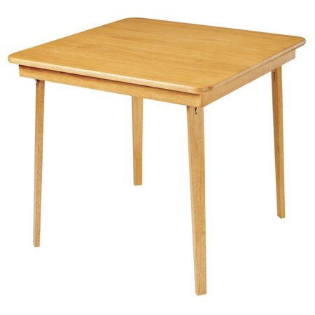 Hardwood Classic Straight Edge Folding Card table - Oak finish