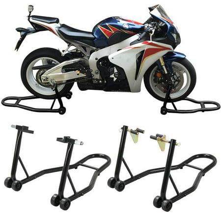 Front & Rear Motorcycle Lift Stand (Fits Honda, Kawasaki, Suzuki, (Best Motorcycle Rear Stand)