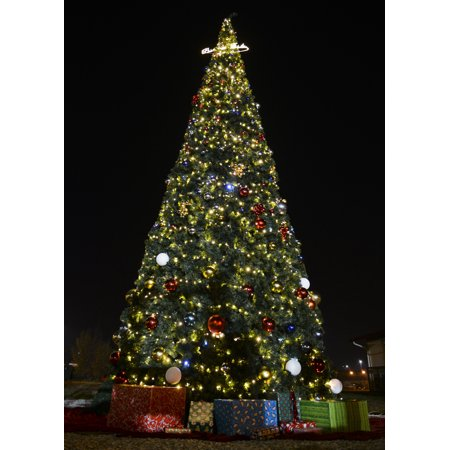 The holiday tree lights up the night sky after the annual holiday tree lighting event, Dec. 1, 2015, Poster Print 24 x 36