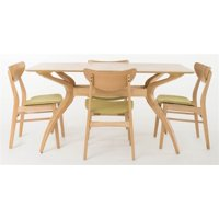 5-Pc Curved Leg Rectangular Dining Set in Green Tea