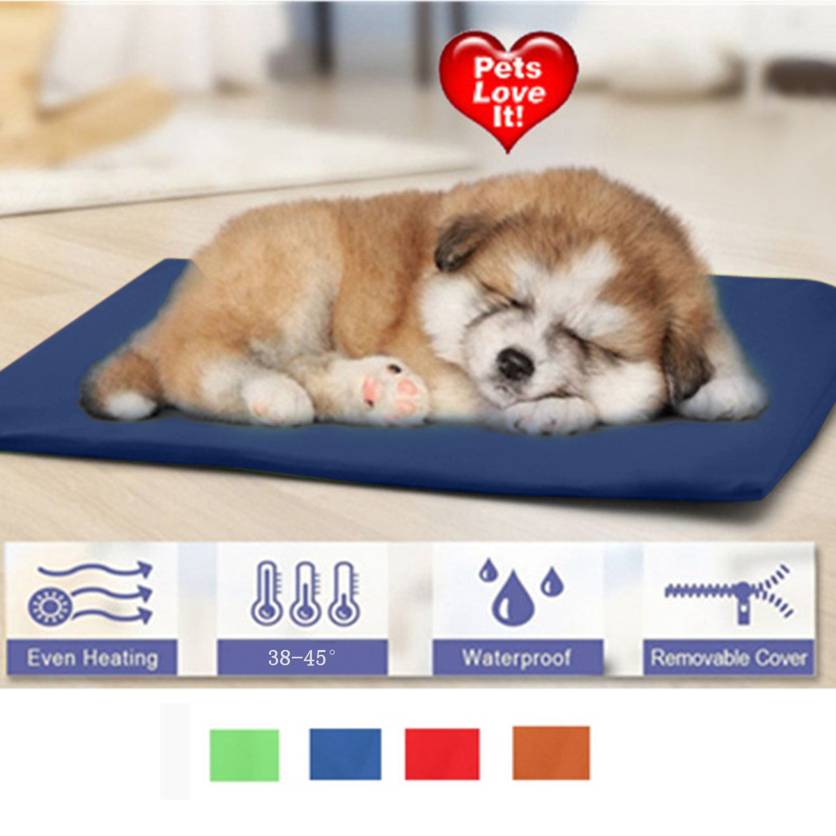 Chew resistant Waterproof Soft Pet Cat Dog Cat Electric Heating Pad Bed Cusion Mat Pad Kennel Crate Cozy Heated Indoor Heater WarmerMat 38-45℃